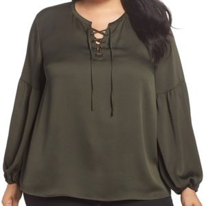 Vince Camuto NWT Lace-Up Blouse, rich olive, 3X